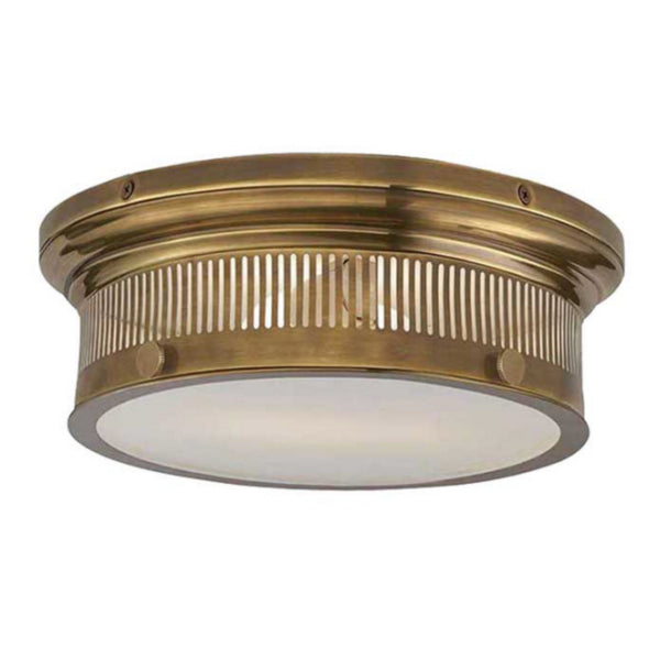 Visual Comfort CHC 4391AB-WG Chapman & Myers Traditional Alderly Small Flush Mount in Antique-Burnished Brass