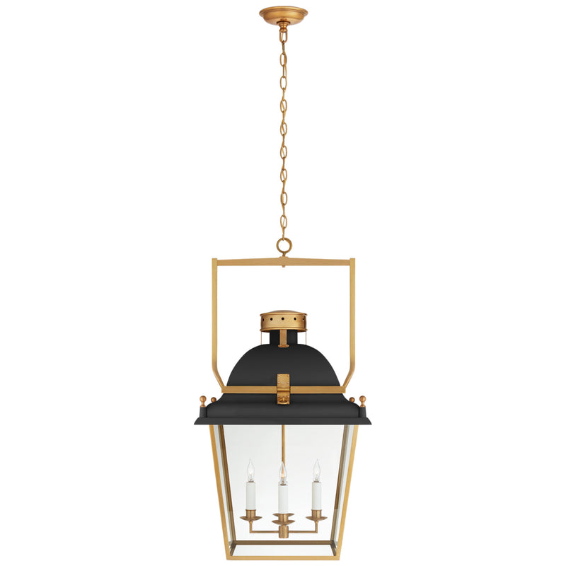 Visual Comfort CHC 5110BLK/AB-CG Chapman & Myers Coventry Large Lantern in Matte Black and Antique-Burnished Brass