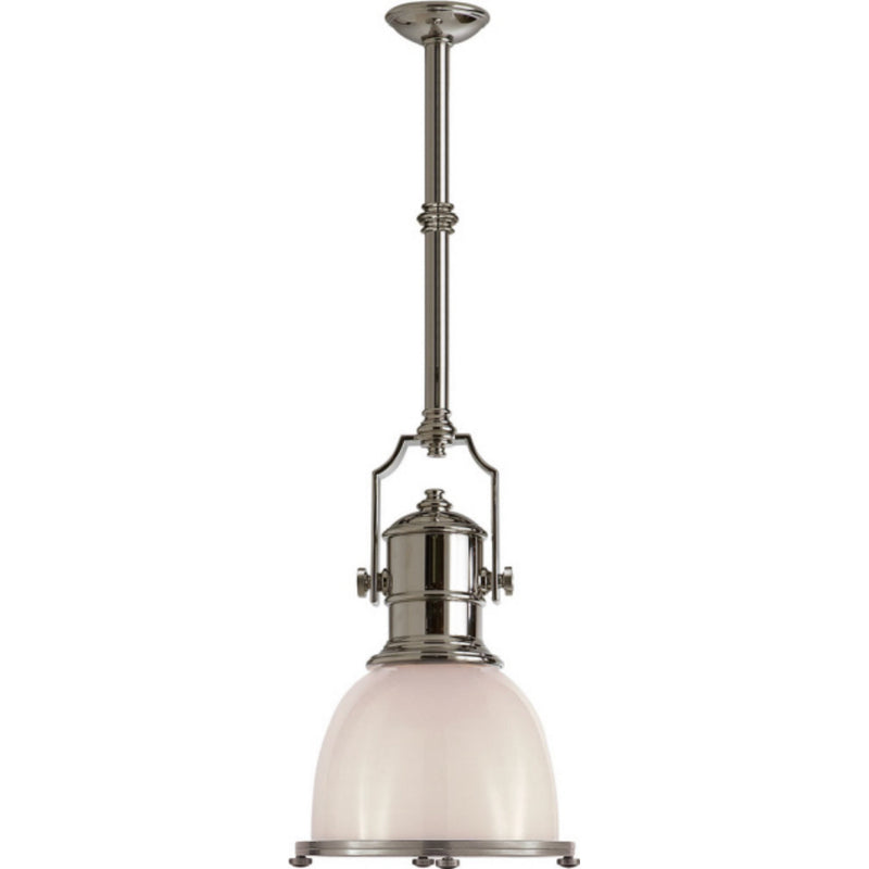 Visual Comfort CHC 5133PN-WG Chapman & Myers Country Industrial Small Pendant in Polished Nickel