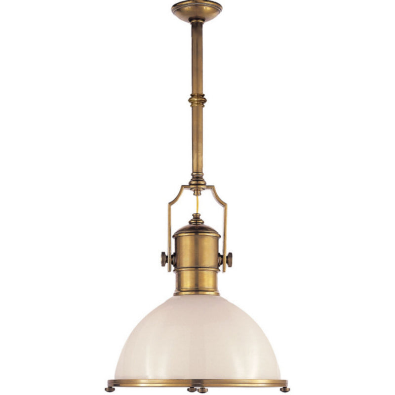 Visual Comfort CHC 5136AB-WG Chapman & Myers Country Industrial Large Pendant in Antique-Burnished Brass