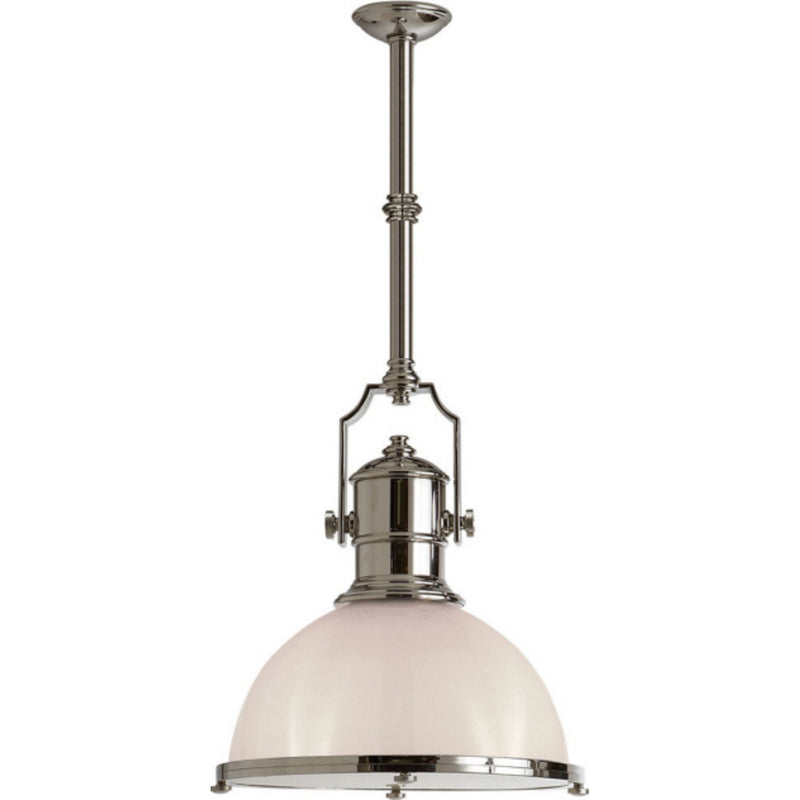 Visual Comfort CHC 5136PN-WG Chapman & Myers Country Industrial Large Pendant in Polished Nickel