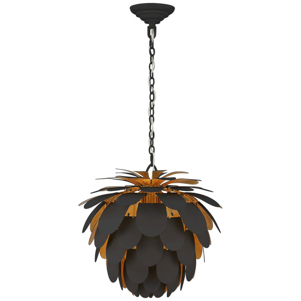 Visual Comfort CHC 5163MBK/G Chapman & Myers Modern Ceiling Light in Matte Black and Gild