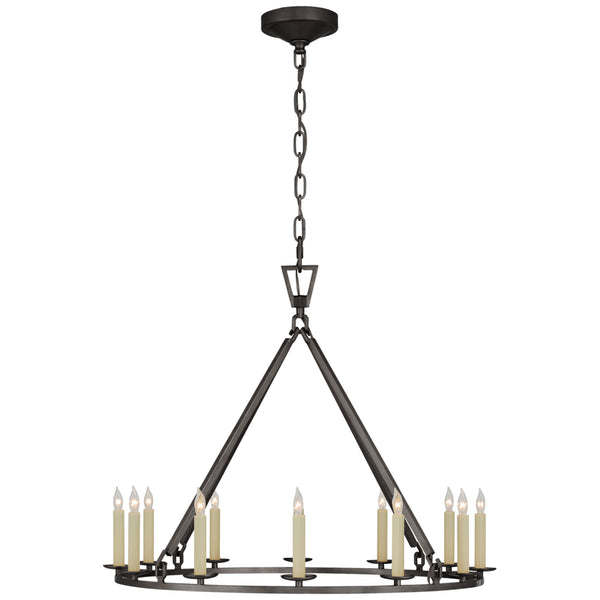 Visual Comfort CHC 5172AI Chapman & Myers Darlana Medium Single Ring Chandelier in Aged Iron