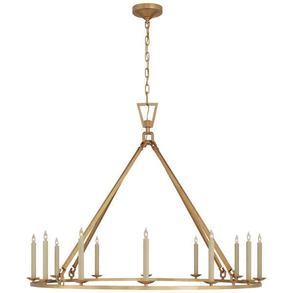 Visual Comfort CHC 5173AB Chapman & Myers Darlana Extra Large Single Ring Chandelier in Antique-Burnished Brass