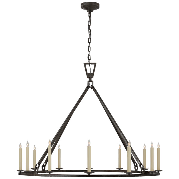Visual Comfort CHC 5173AI Chapman & Myers Darlana Extra Large Single Ring Chandelier in Aged Iron