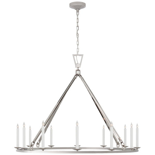 Visual Comfort CHC 5173PN Chapman & Myers Darlana Extra Large Single Ring Chandelier in Polished Nickel