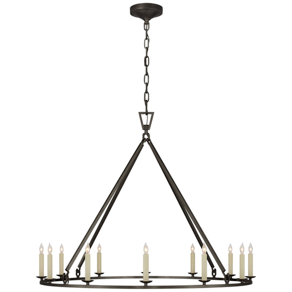 Visual Comfort CHC 5174AI Chapman & Myers Darlana Large Single Ring Chandelier in Aged Iron