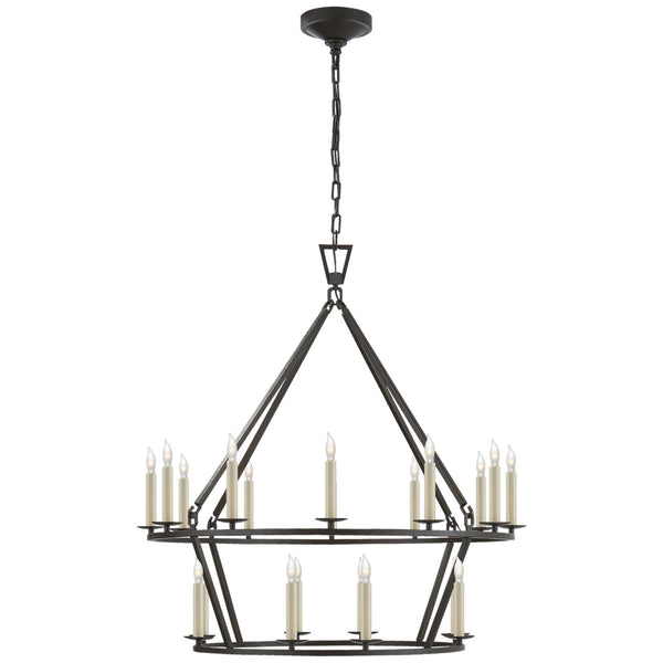 Visual Comfort CHC 5178AI Chapman & Myers Darlana Medium Two-Tier Chandelier in Aged Iron
