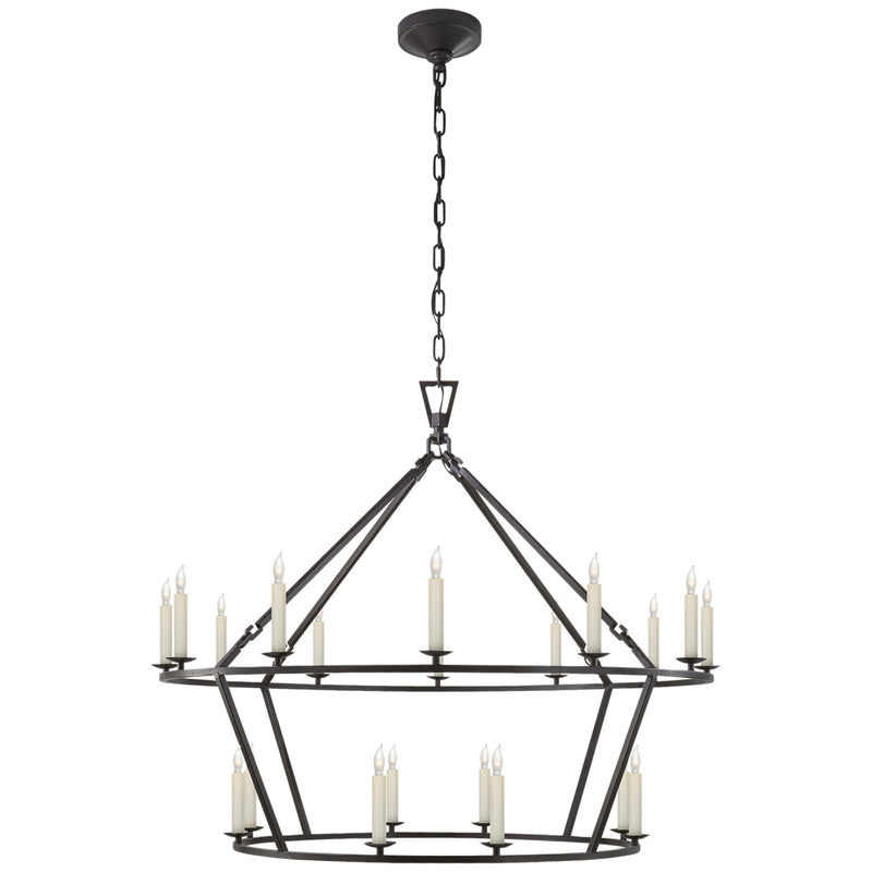 Visual Comfort CHC 5179AI Chapman & Myers Darlana Large Two-Tiered Ring Chandelier in Aged Iron