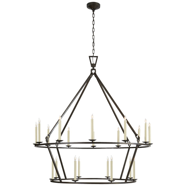 Visual Comfort CHC 5199AI Chapman & Myers Darlana Extra Large Two-Tier Chandelier in Aged Iron