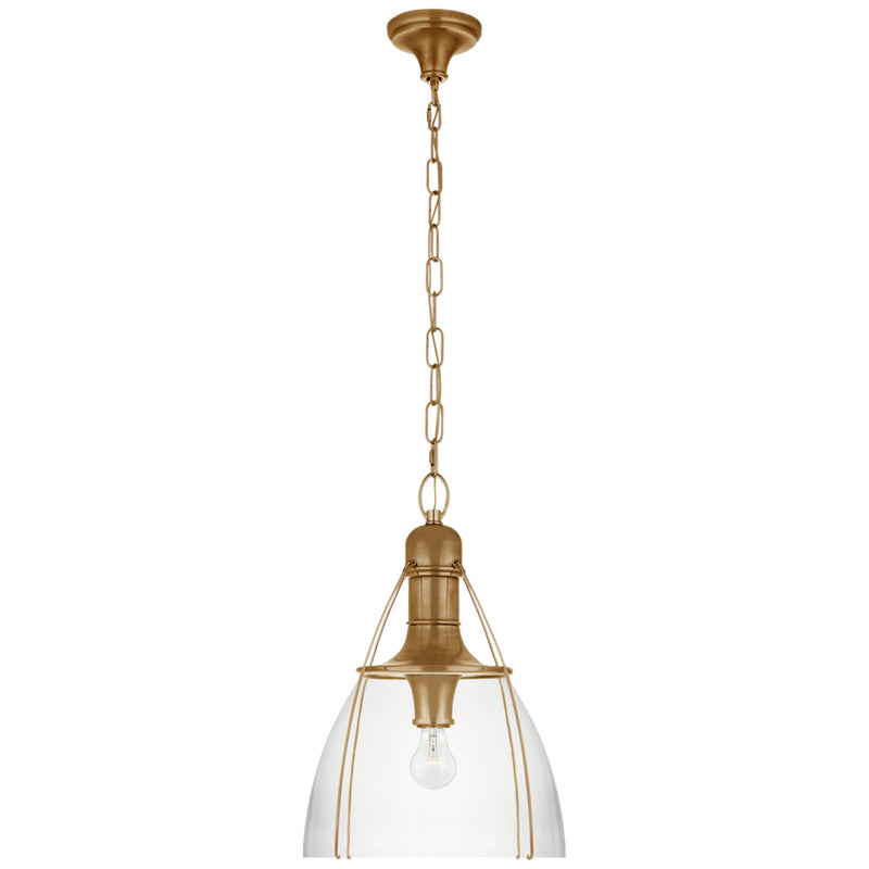 "Visual Comfort CHC 5476AB-CG Chapman & Myers Prestwick 18"" Pendant in Antique-Burnished Brass"