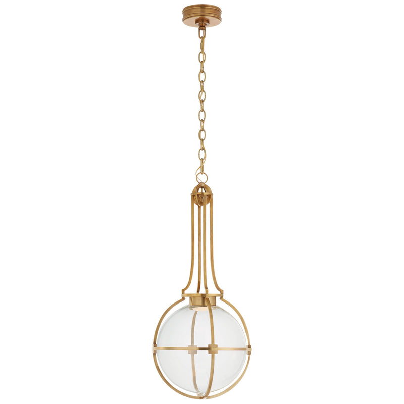Visual Comfort CHC 5478AB-CG Chapman & Myers Gracie Medium Captured Globe Pendant in Antique-Burnished Brass