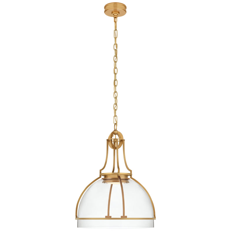 Visual Comfort CHC 5482AB-CG Chapman & Myers Gracie Large Dome Pendant in Antique-Burnished Brass