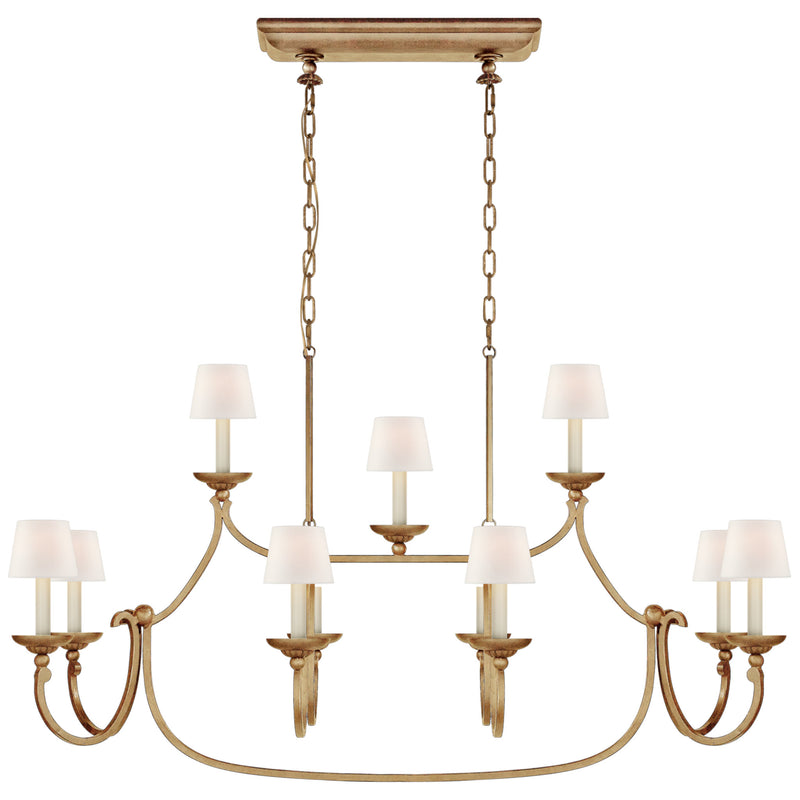 Visual Comfort CHC 5495GI-L Chapman & Myers Flemish Large Linear Pendant in Gilded Iron