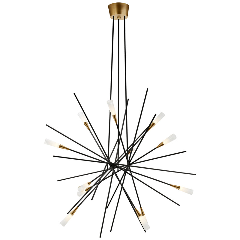 Visual Comfort CHC 5600BLK Chapman & Myers Stellar Large Chandelier in Matte Black and Antique Brass