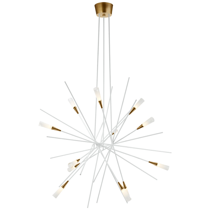 Visual Comfort CHC 5600WHT Chapman & Myers Stellar Large Chandelier in Matte White and Antique Brass