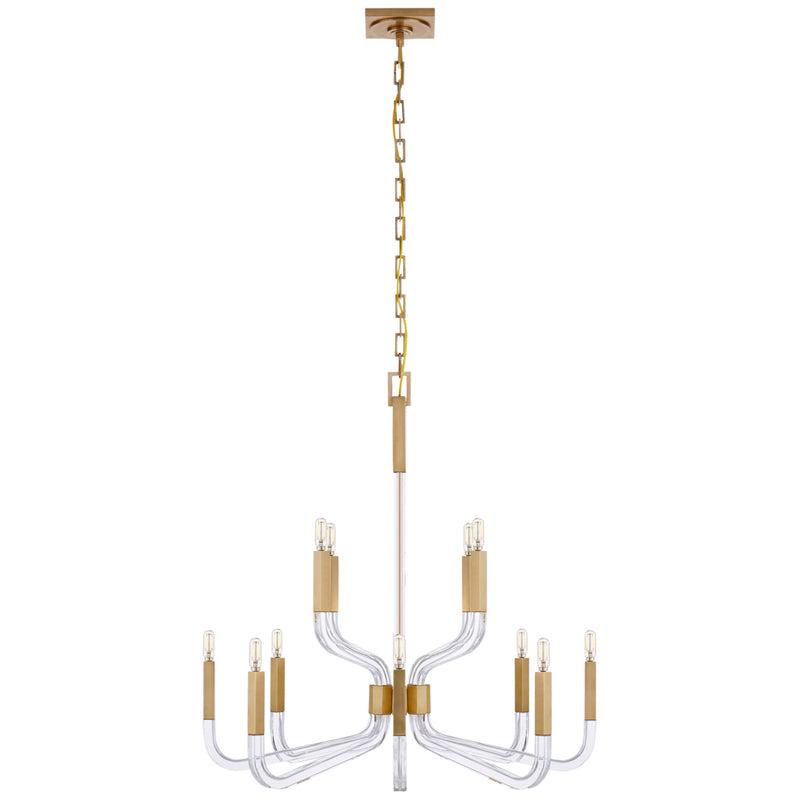 Visual Comfort CHC 5903AB/CG Chapman & Myers Reagan Medium Two Tier Chandelier in Antique-Burnished Brass and Crystal