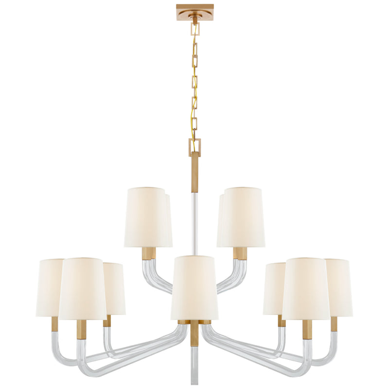 Visual Comfort CHC 5904AB/CG-L Chapman & Myers Reagan Grande Two Tier Chandelier in Antique-Burnished Brass and Crystal