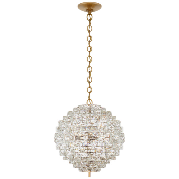 Visual Comfort CHC 5915AB/CG Chapman & Myers Karina Medium Sphere Chandelier in Antique-Burnished Brass and Crystal