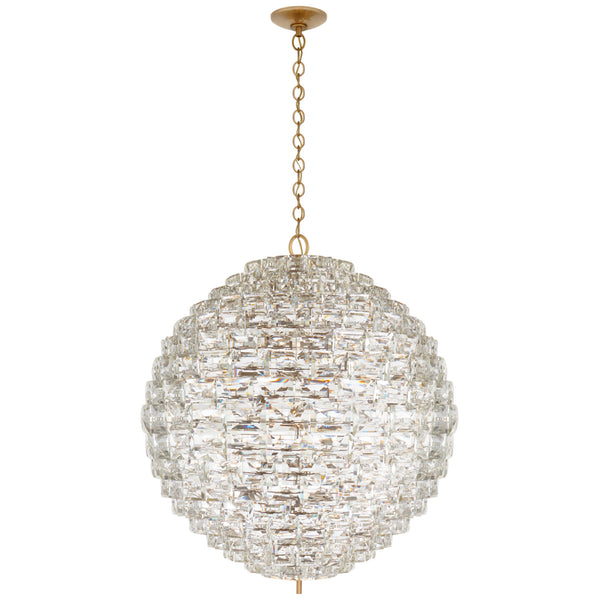 Visual Comfort CHC 5917AB/CG Chapman & Myers Karina Grande Sphere Chandelier in Antique-Burnished Brass and Crystal
