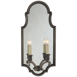 Visual Comfort CHD 1184SN Chapman & Myers Sussex Medium Framed Double Sconce in Sheffield Nickel