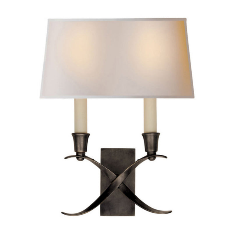 Visual Comfort CHD 1190BZ-NP Chapman & Myers Cross Bouillotte Small Sconce in Bronze
