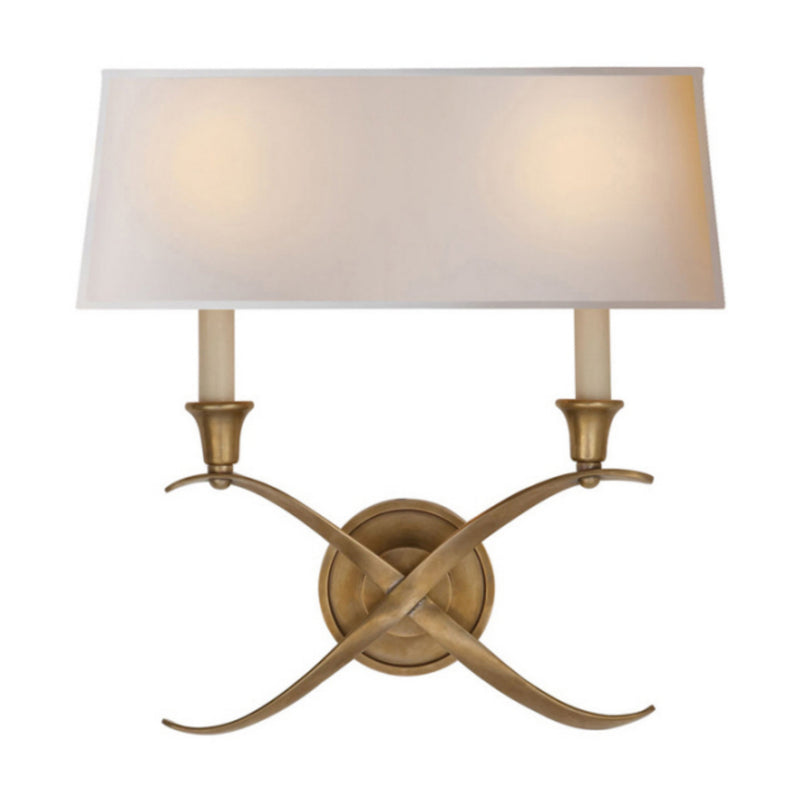 Visual Comfort CHD 1191AB-NP Chapman & Myers Cross Bouillotte Large Sconce in Antique-Burnished Brass