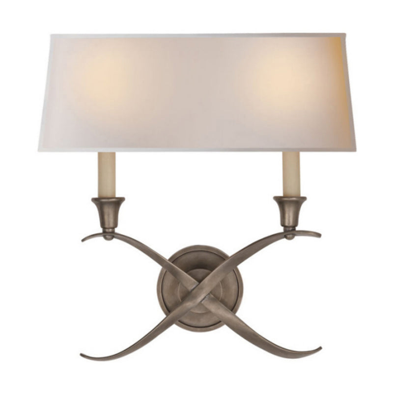 Visual Comfort CHD 1191AN-NP Chapman & Myers Cross Bouillotte Large Sconce in Antique Nickel