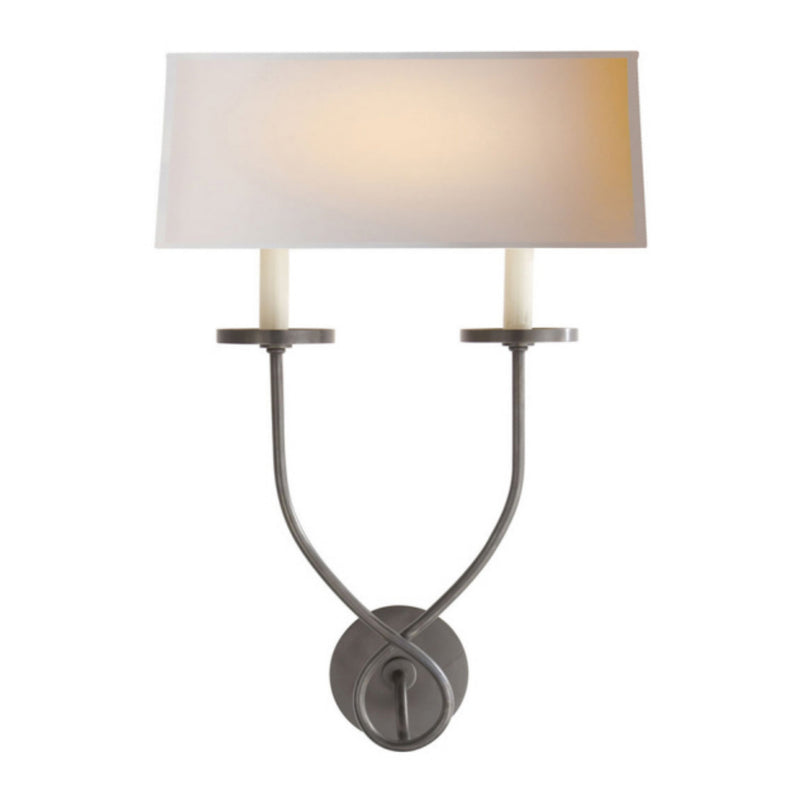 Visual Comfort CHD 1612BZ-NP Chapman & Myers Symmetric Twist Double Sconce in Bronze