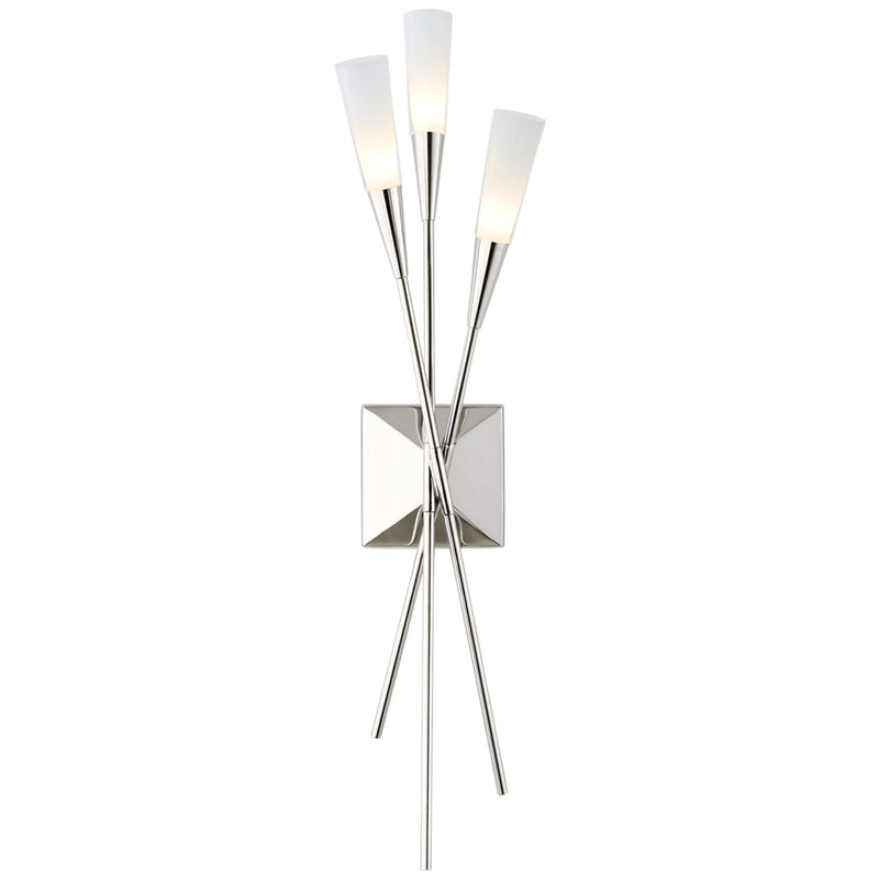 Visual Comfort CHD 2602PN Chapman & Myers Stellar Triple Tail Sconce in Polished Nickel