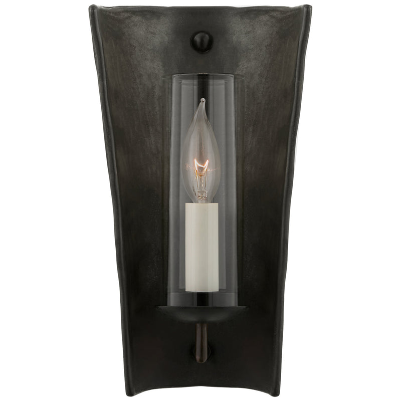 Visual Comfort CHD 2605SBM Chapman & Myers Downey Small Reflector Sconce in Stained Black Metallic and Aged Iron