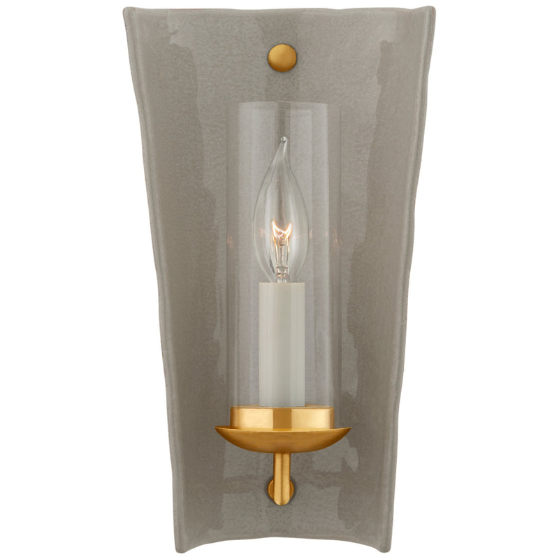Visual Comfort CHD 2605SHG Chapman & Myers Downey Small Reflector Sconce in Shellish Gray and Gild