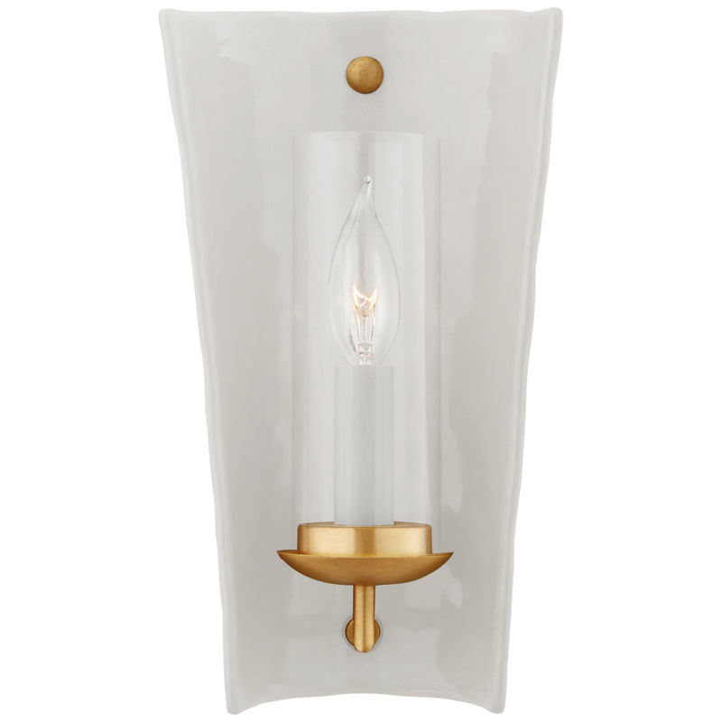 Visual Comfort CHD 2605WHT Chapman & Myers Downey Small Reflector Sconce in White and Gild