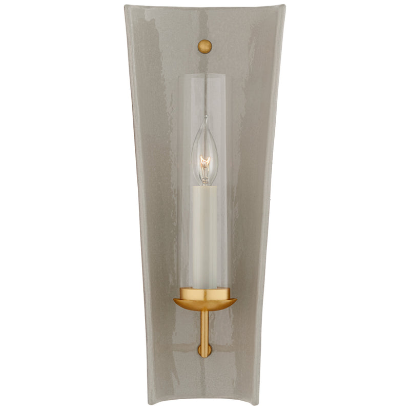 Visual Comfort CHD 2606SHG Chapman & Myers Downey Medium Reflector Sconce in Shellish Gray and Gild