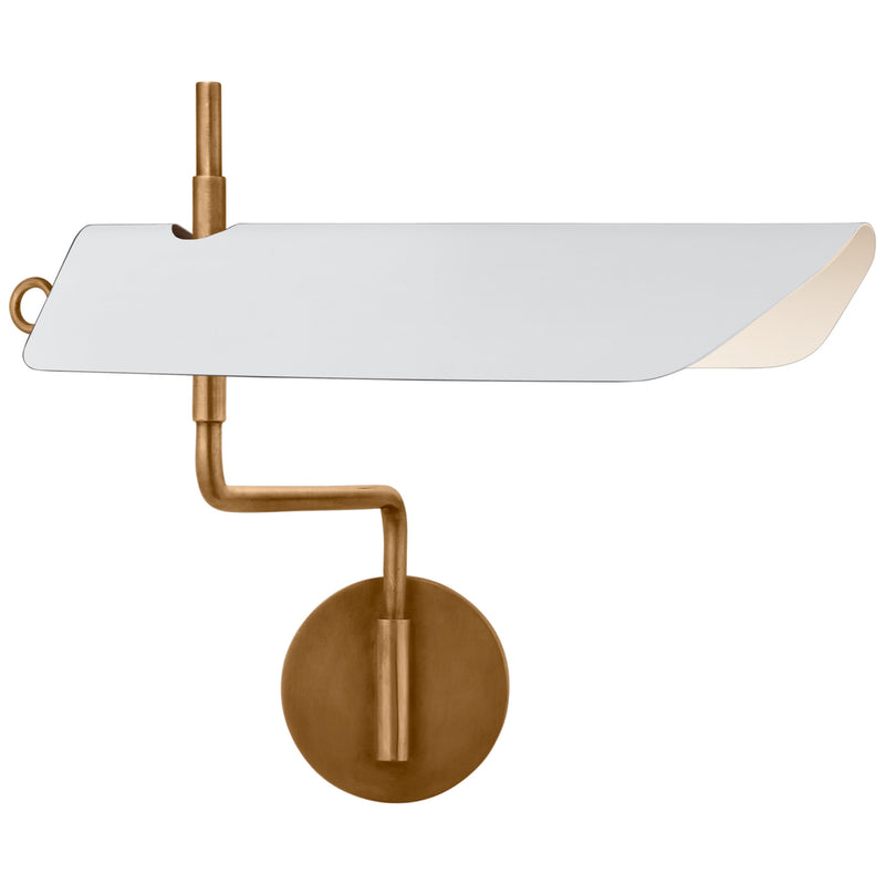 Visual Comfort CHD 2724AB-WHT Chapman & Myers Miles Swing Arm Wall Light in Antique-Burnished Brass