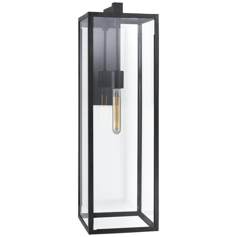 Visual Comfort CHD 2936AI-CG Chapman & Myers Modern Fresno Long Wall Sconce in Aged Iron with Clear Glass