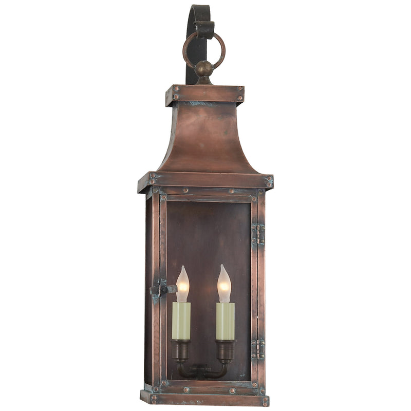 Visual Comfort CHO 2153NC Chapman & Myers Bedford Medium Scroll Arm Lantern in Natural Copper