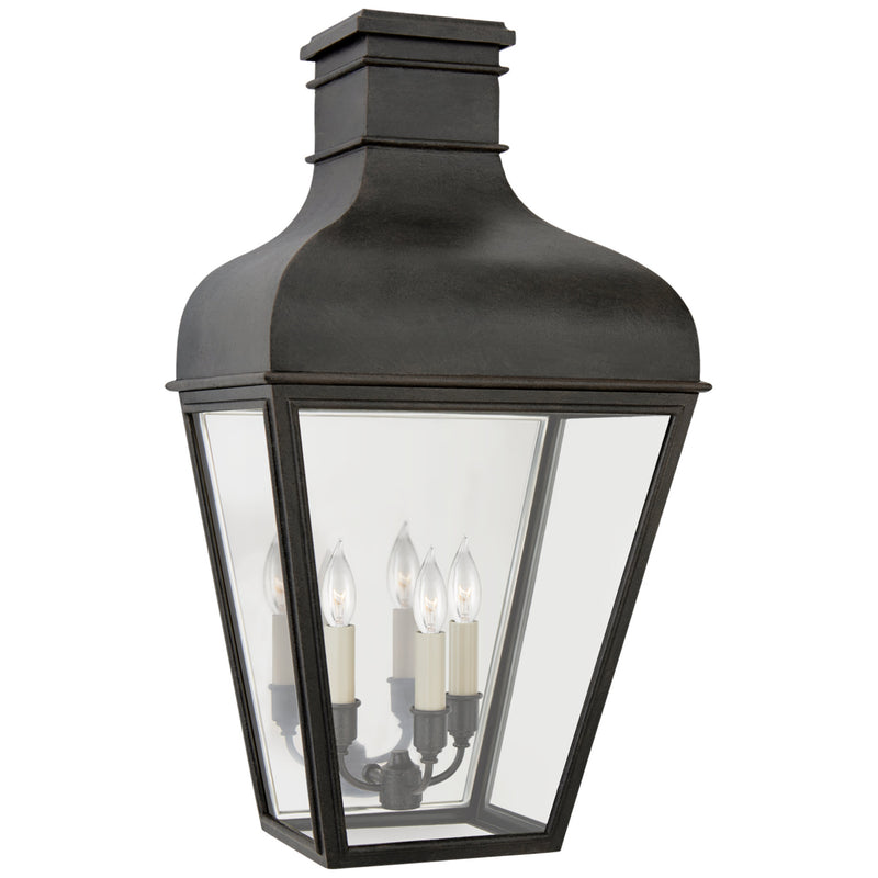 Visual Comfort CHO 2165FR-CG Chapman & Myers Fremont Medium 3/4 Wall Lantern in French Rust