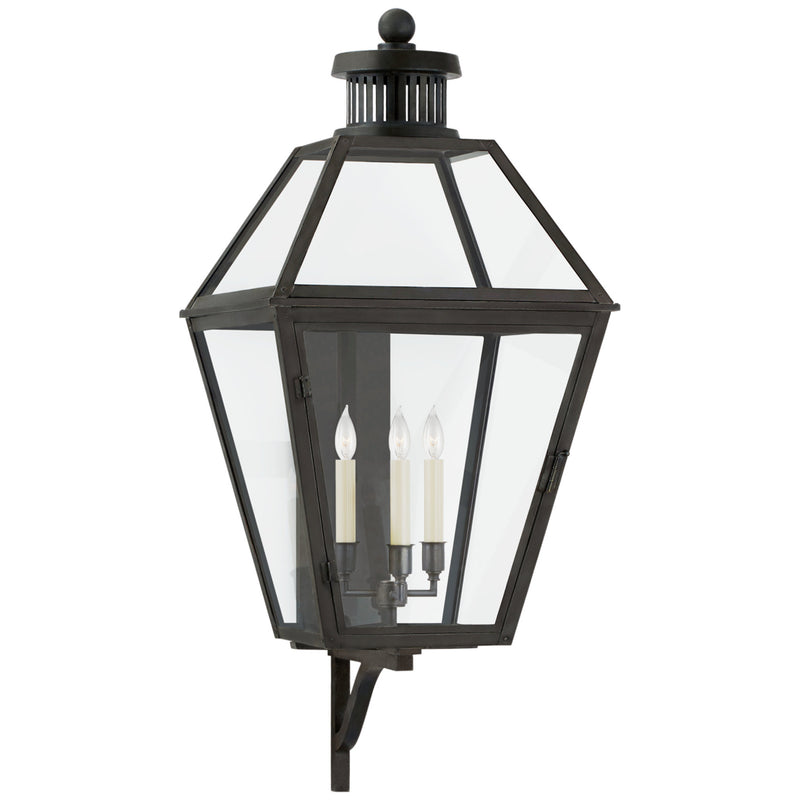 Visual Comfort CHO 2372BC-CG Chapman & Myers Traditional Stratford Large Bracketed Wall Lantern in Blackened Copper with Clear Glass