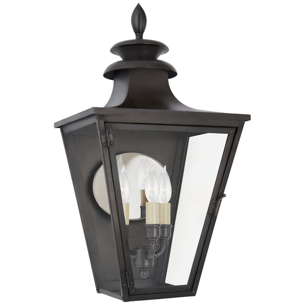 Visual Comfort CHO 2414BC-CG Chapman & Myers Traditional Albermarle Small 3/4 Wall Lantern in Blackened Copper with Clear Glass