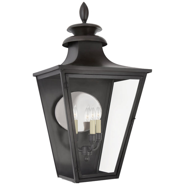 Visual Comfort CHO 2416BC-CG Chapman & Myers Traditional Albermarle Large 3/4 Wall Lantern in Blackened Copper with Clear Glass