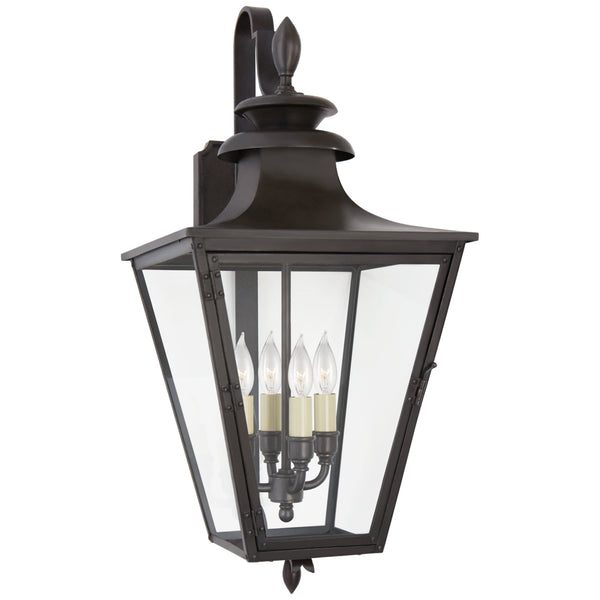 Visual Comfort CHO 2421BC-CG Chapman & Myers Traditional Albermarle Small Bracketed Wall Lantern in Blackened Copper with Clear Glass