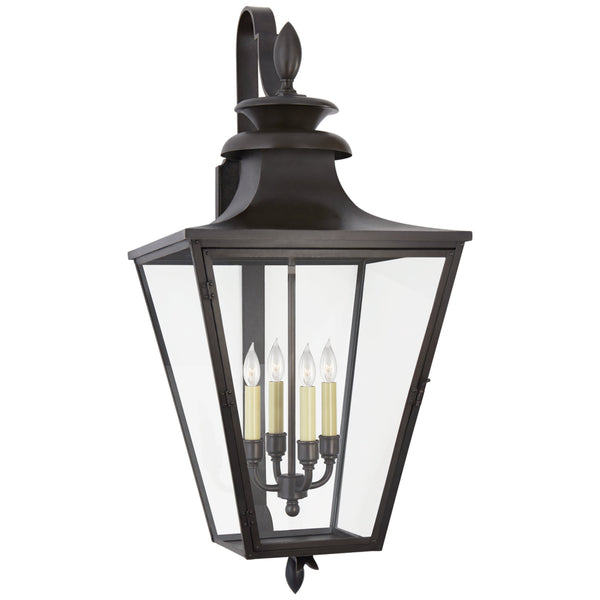 Visual Comfort CHO 2423BC-CG Chapman & Myers Traditional Albermarle Large Bracketed Wall Lantern in Blackened Copper with Clear Glass