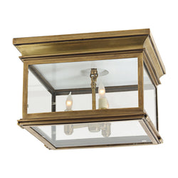 Visual Comfort CHO 4311AB-CG Chapman & Myers Club Large Square Flush Mount in Antique-Burnished Brass