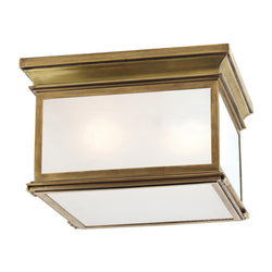 Visual Comfort CHO 4311AB-FG Chapman & Myers Club Large Square Flush Mount in Antique-Burnished Brass