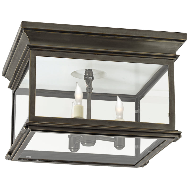 Visual Comfort CHO 4311BZ-CG Chapman & Myers Club Large Square Flush Mount in Bronze
