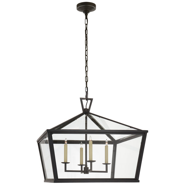 Visual Comfort CHO 5086BZ-CG Chapman & Myers Darlana Medium Wide Hanging Lantern in Bronze