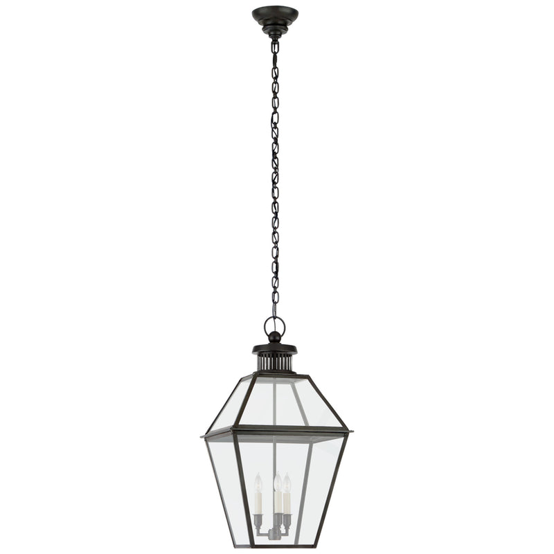 Visual Comfort CHO 5371BC-CG Chapman & Myers Traditional Stratford Medium Hanging Lantern in Blackened Copper with Clear Glass