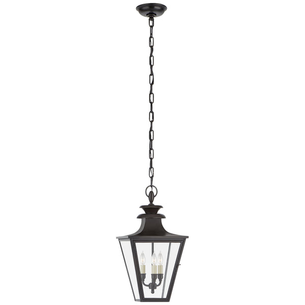 Visual Comfort CHO 5414BC-CG Chapman & Myers Traditional Albermarle Small Hanging Lantern in Blackened Copper with Clear Glass