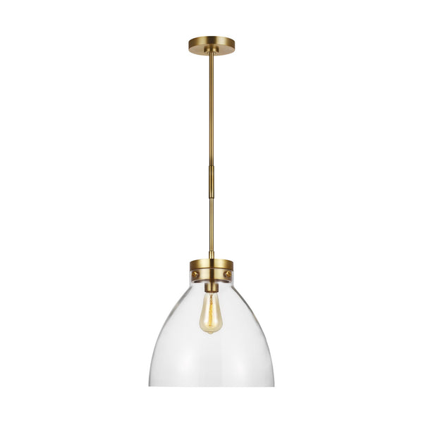 Generation Lighting CP1121BBS Chapman & Myers Garrett 1 Light Pendant in Burnished Brass / Burnished Brass